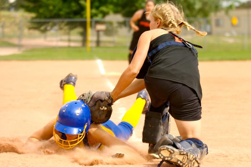 Softball Clinics - Girl Sliding into Home